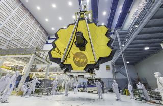 The primary mirror of NASA's James Webb Space Telescope as seen in 2017.