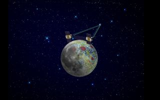 Using a precision formation-flying technique, the twin GRAIL spacecraft maps the moon's gravity field, as depicted in this artist's rendering.