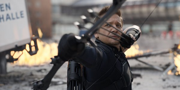 Hawkeye getting ready to shoot arrows in Captain America: Civil War