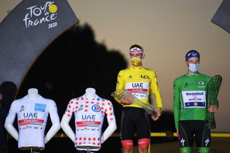 Tadej Pogačar and Sam Bennett won the jerseys at the 2020 Tour de France