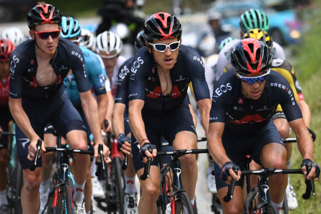From L Team Ineos Tao Geoghegan Hart of Great Britain Team Ineos Geraint Thomas of Great Britain and Team Ineos Richie Porte of Australia ride during the seventh stage of the 73rd edition of the Criterium du Dauphine cycling race a 171km between SaintMartinLeVinoux and La Plagne on June 5 2021 Photo by Alain JOCARD AFP Photo by ALAIN JOCARDAFP via Getty Images