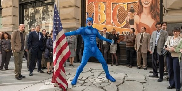 The Tick big old American flag landing