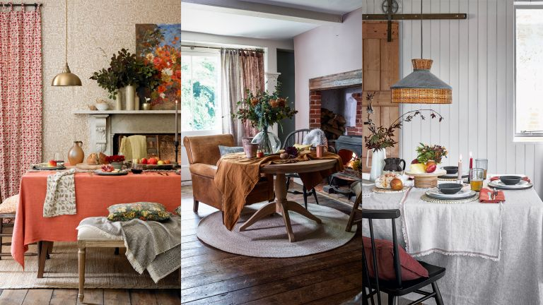 A composite of fall table decor ideas