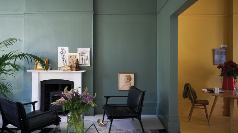 Room painted in Farrow and Ball Green Smoke and India Yellow