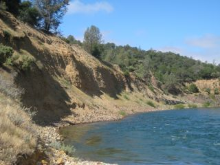 Sediments like these along the Yuba River in northern California can be eroded by large floods, unleashing mercury pollution into the water.