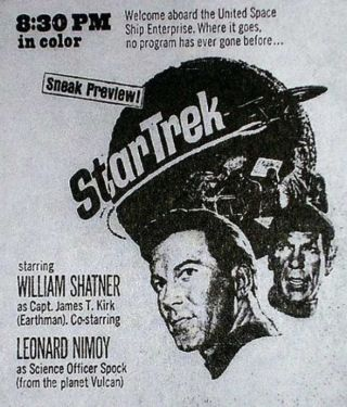Star Trek Promo Ad 1966