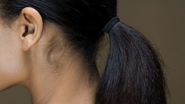 Rear view of a woman's ponytail - stock photo