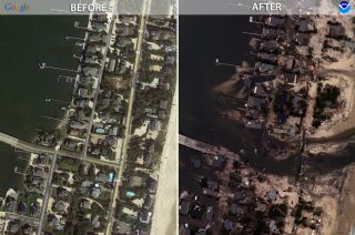 Mantoloking, New Jersey before and after.