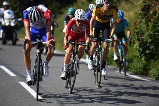 Cofidis climber Guillaume Martin (centre) shadows Groupama-FDJ's Thibaut Pinot on stage 5 of the 2020 Critérium du Dauphiné