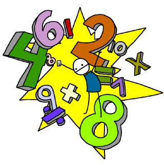 Colorful numerals and math symbols fly in front of a yellow starburst