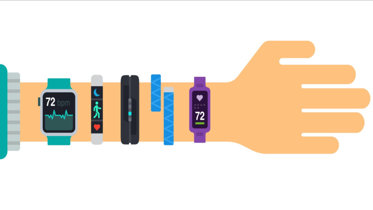 Fitbits vs Apple Watches: illustration arm with multiple fitness trackers on