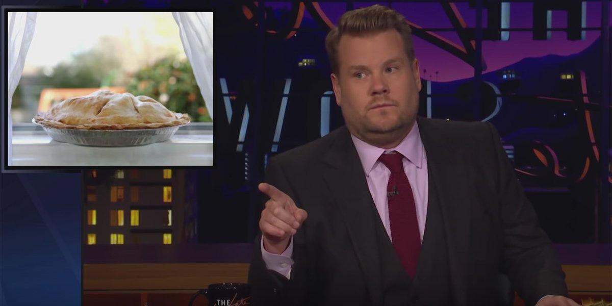 James Corden loves pie, talks fat shaming on late night