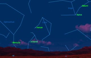 This sky map shows the positions of Venus, Mercury and Saturn as they will appear before sunrise in early January 2011. [<a href=http://www.space.com/spacewatch/planets-venus-mercury-night-sky-110104.html>Full Story</a>]