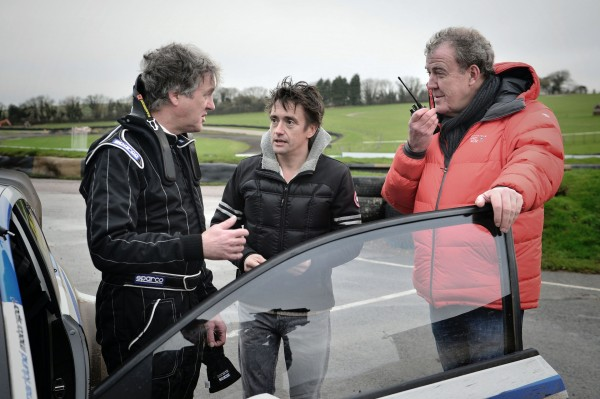 James May, Richard Hammond, Jeremy Clarkson during filming for BBC programme Top Gear