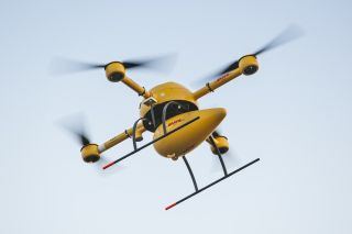 The DHL drone in flight.