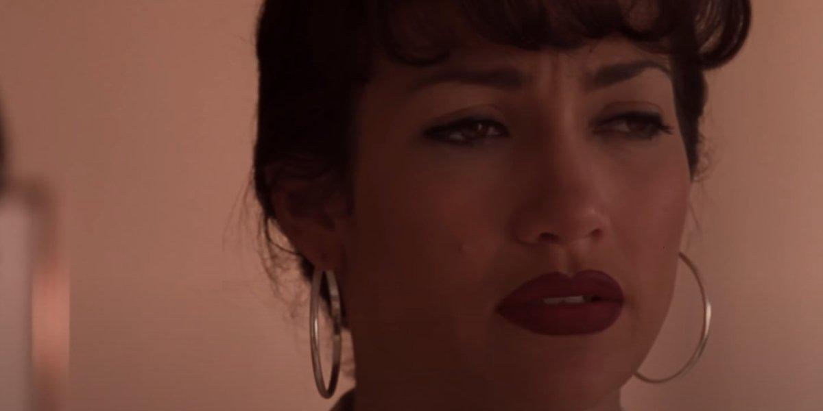 Jennifer Lopez in a somber scene from Selena