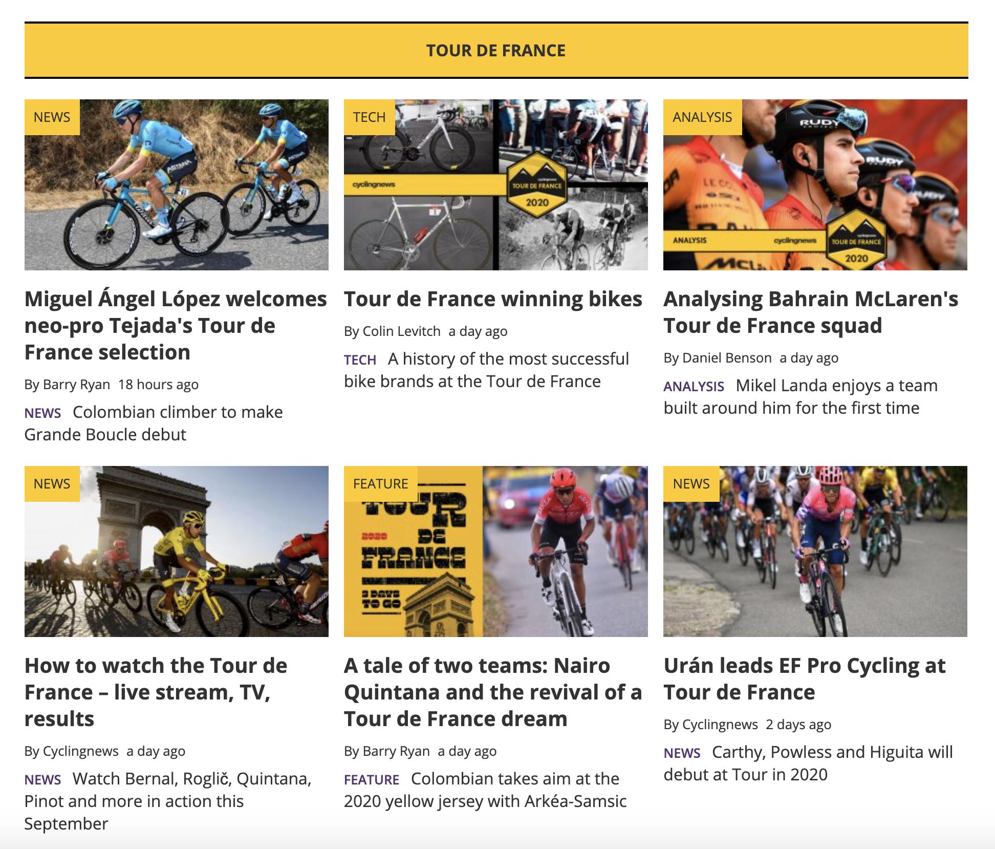 Cyclingnews TDF section