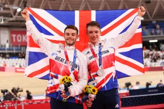 Great Britain's Matt Walls and Ethan Hayter took the silver in the men's Madison