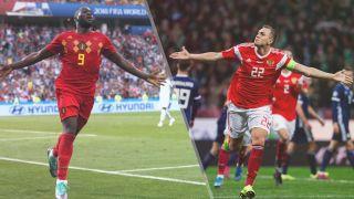 Belgium vs Russia live stream Euro 2020 —Romelu Lukaku of Belgium and Artyom Dzyuba of Russia