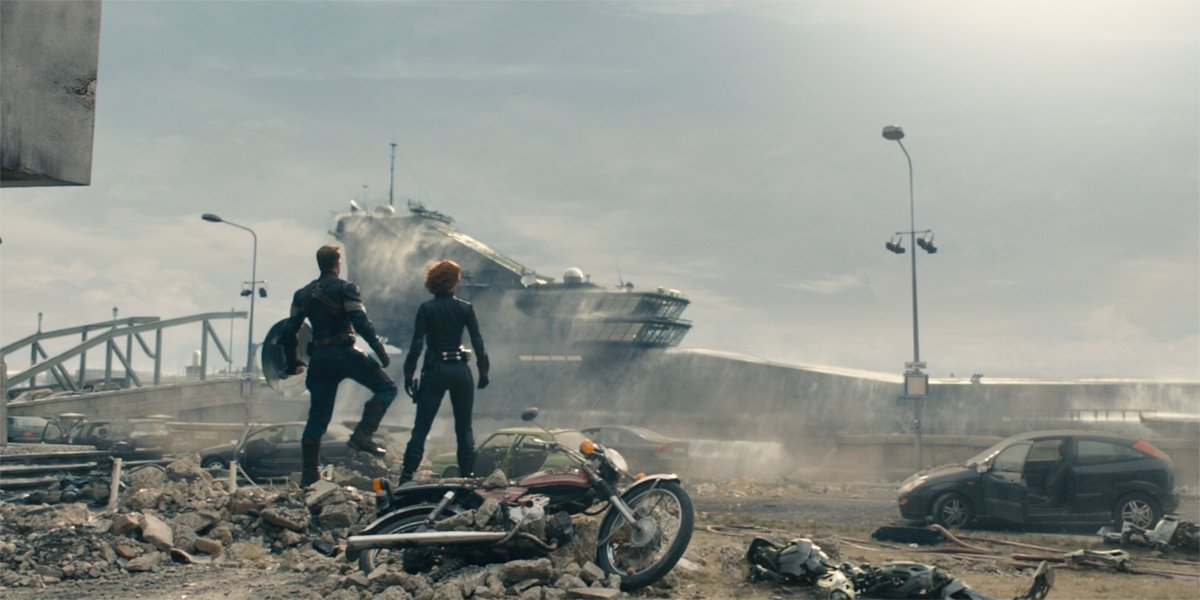 Captain America and Black Widow watch the rise of the Helicarrier in Avengers Age of Ultron
