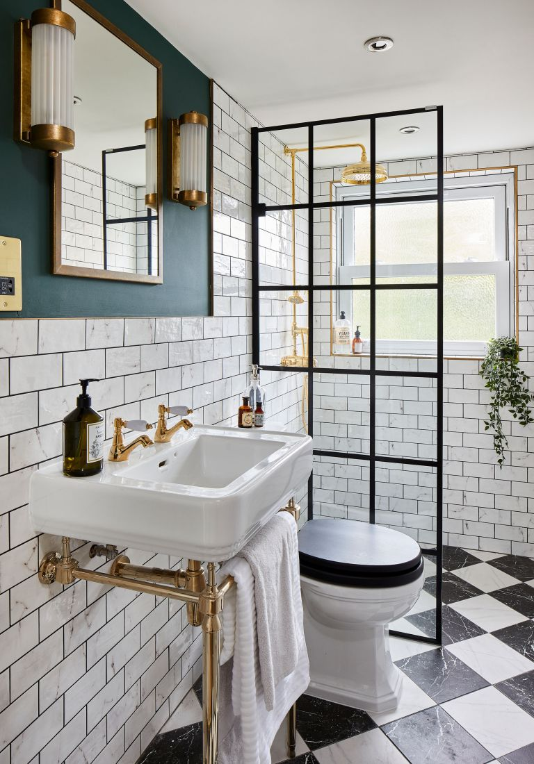 Interior designer Nicola Miller used clever tricks to create s stylish loft en suite in Leo and Tamsin's Herne Hill home