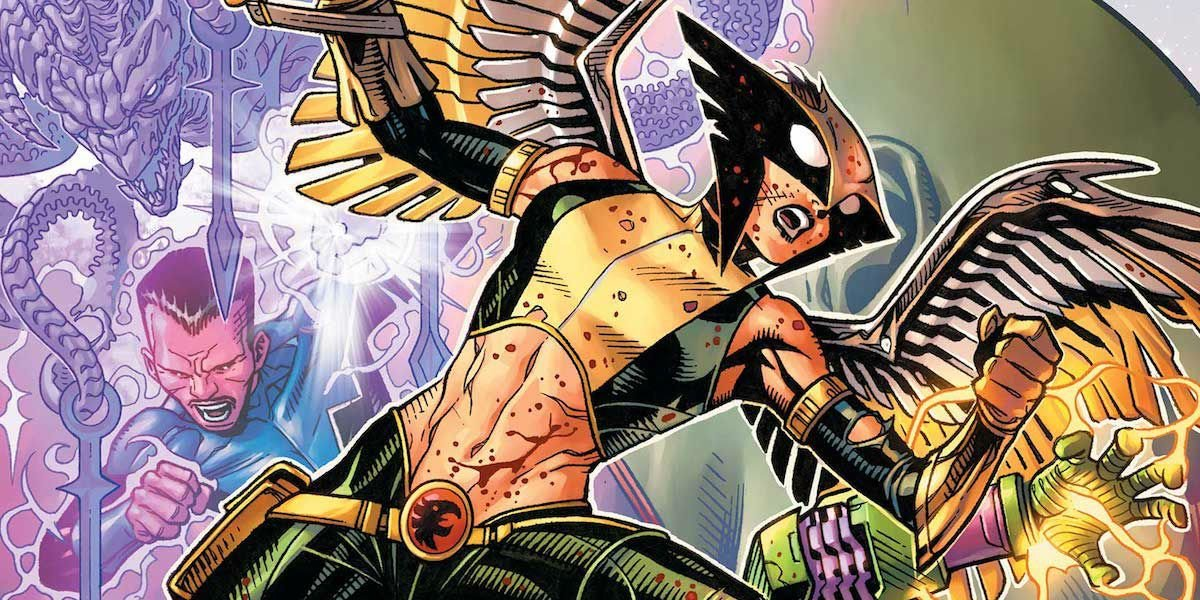Hawkgirl in the throws of battle