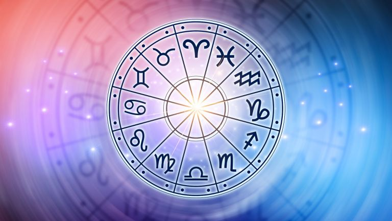 most popular zodiac signs - inside of horoscope circle. Astrology in the sky with many stars and moons astrology and horoscopes concept