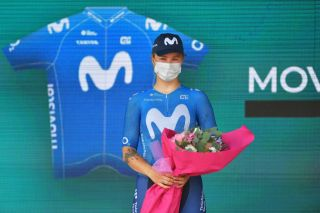 CARUGATE ITALY JULY 06 Emma Norsgaard Jorgensen of Denmark and Movistar Team 2nd place celebrates at podium during the 32nd Giro dItalia Internazionale Femminile 2021 Stage 5 a 1201km stage from Milano to Carugate GiroDonne UCIWWT on July 06 2021 in Carugate Italy Photo by Luc ClaessenGetty Images