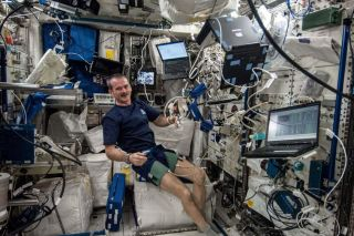 Canadian Astronaut Chris Hadfield Performs BP Reg Experiment
