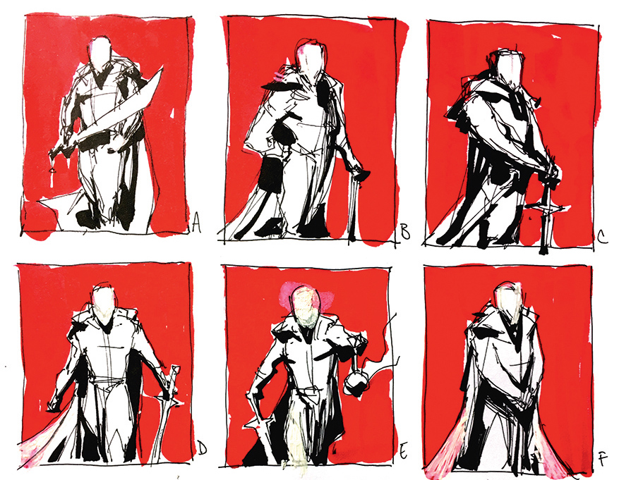 Red and white grid with a character shown in six poses