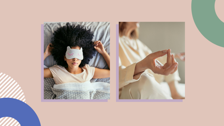 image of woman wearing eye mask and image of woman meditation on peach background