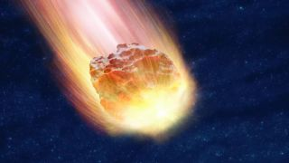 An illustration shows a meteor passing through the atmosphere.