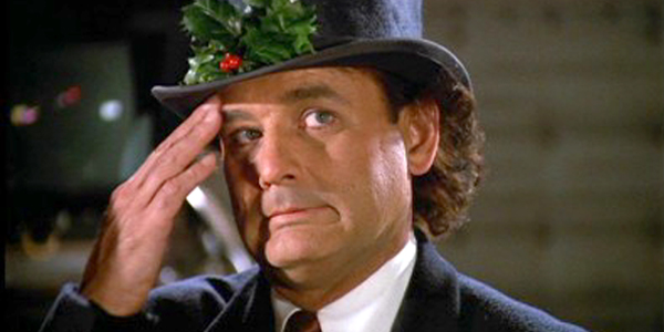 Scrooged Bill Murray cringes