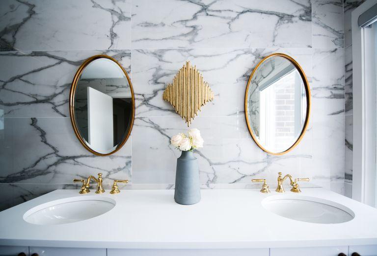 Couples bathroom sink in modern ensuite