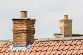 brick chimney on rooftop