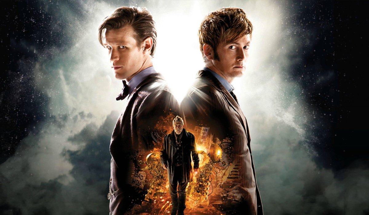 Doctor Who The Eleventh and Tenth Doctors back to back with the War Doctor below