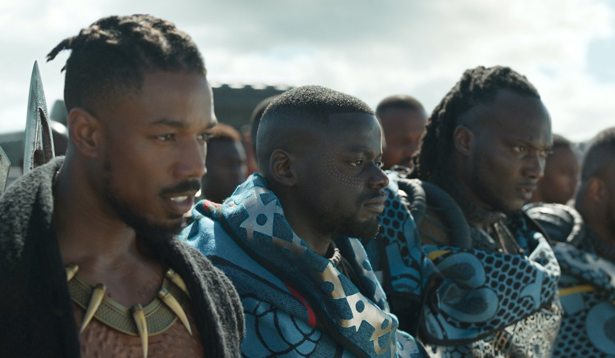 Michael B. Jordan, Daniel Kaluuya in Black Panther