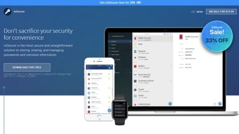 mSecure review - mSecure's homepage
