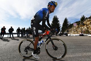NTT's Amanuel Ghebreigzabhier rides to ninth place on stage 17 to Madonna di Campiglio at the 2020 Giro d'Italia