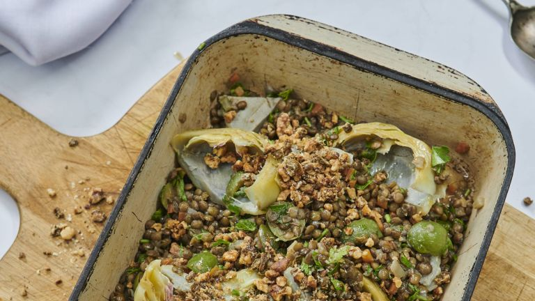 Poached artichoke with lentils