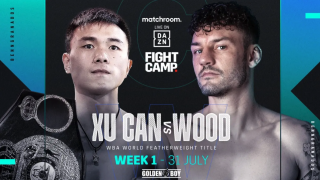 Xu Can vs Leigh Wood live stream: Matchroom Fight Camp 2 promotion image featuring Can and Wood facing off
