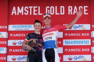 2019 Amstel Gold Race men's winner Mathieu van der Poel (Corendon-Circus) and women's winner Kasia Niewiadoma (Canyon-SRAM)