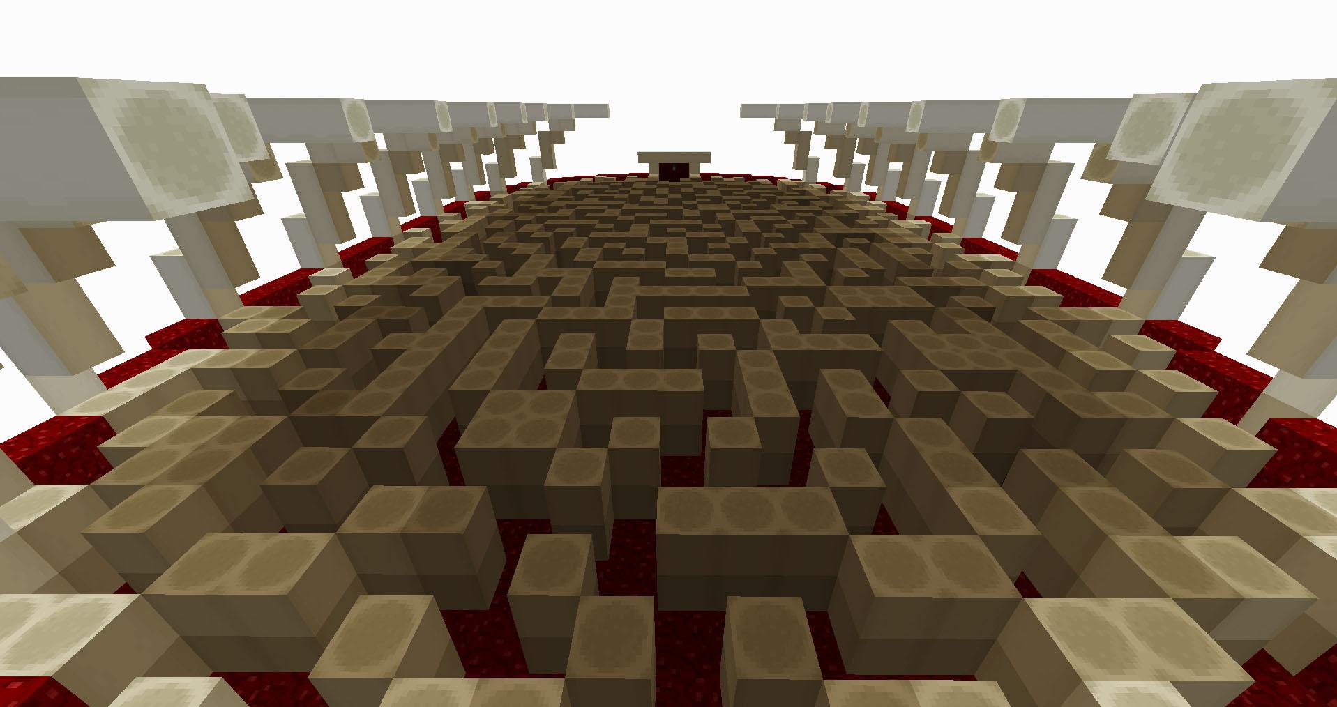 A blocky maze in a bright white hall made in Minecraft