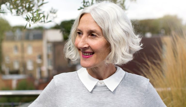 Portait of older woman silver hair - stock photo