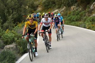 Jumbo Visma's Chris Harper leads UAE Team Emirates' David de la Cruz on stage 1 of the 2020 Vuelta a Andalucia