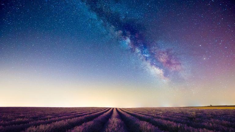 stars in a sky above a field