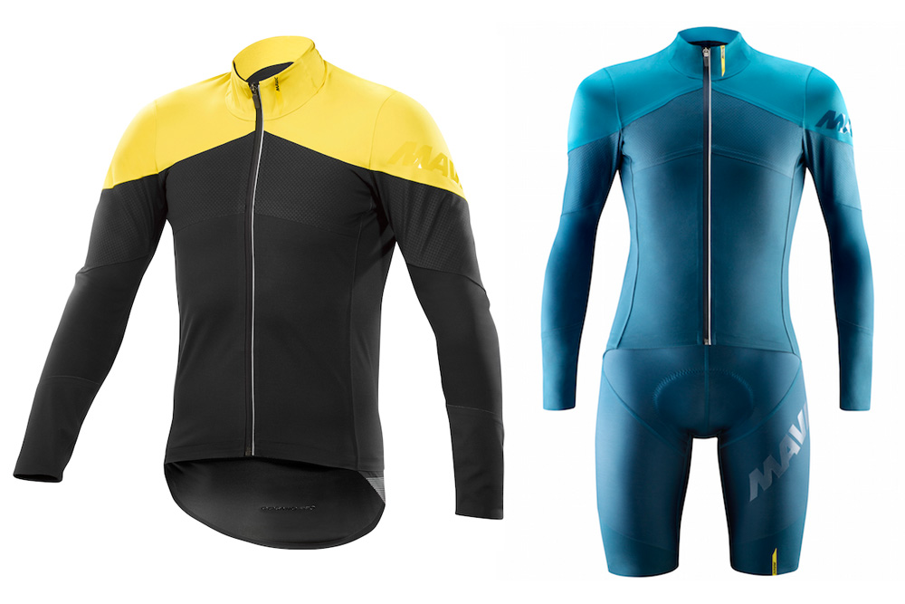 Mavic s jacket range tops out with the Cosmic Pro H2O Vision (L) and also  includes the new Cosmic Pro SO H2O jacket and Cosmic Pro Thermo bibshorts  (R) 6d0e83777a
