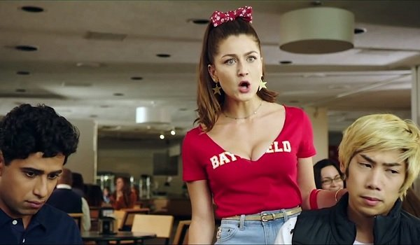 Happy Death Day 2U Rachel Matthews angrily talking in the cafeteria