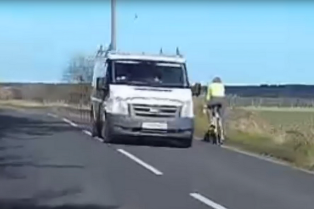 Watch: Cyclist riding on wrong side of the road narrowly