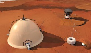 This artist's illustration depicts a novel Mars colony base concept by researchers at Switzerland's Federal Polytechnic School in Lausanne, which would use an igloo-like habitat near the Martian north pole as a home for astronauts.